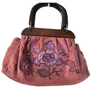 Embellished velvet bag with Wooden Handles